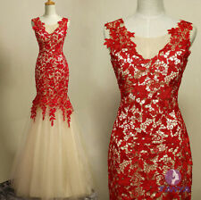 Chinese style Lace Appliqued Empire Mermaid Evening Prom Ball Gown Wedding Dress