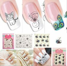 1 Sheet Water Transfer Stickers Nail Art Tips DIY Feather Cat Dandelion Decals