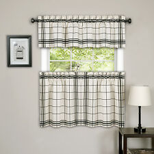 Cambridge Black Plaid Kitchen Curtain Tiers or Valance
