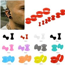 Pair 3-20MM Soft Silicone Horn O Ring Silicone Ear Tunnels Plugs Earlets Gauge