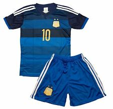 Argentina #10 Messi Home Kids Blue Soccer Jersey & Shorts Youth Sizes