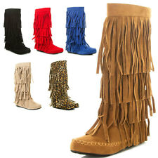 New 4 Layer Fringe Shaft Moccasin Moc Toe Flat Mid Calf Knee High Zipper Boot US