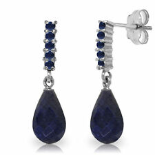 Natural Sapphires 7 ctw Briolette Round Gemstones Dangle Earrings 14K Solid Gold