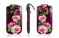Leather Pull Up Tab Case Magnetic Wallet Floral Pouch Cover For All Smart Phones