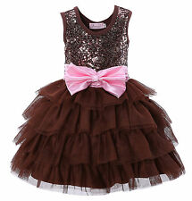 Girl Sequined Princess Dress With Bow Chiffon Children Kids Formal Party Dresses