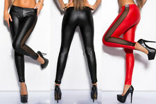 Women Leggings Full Length Sexy Pencil Pants Mesh Leather Stitching Pants New