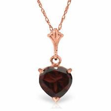 Genuine Red Garnet Heart Gemstone Pendant Necklace 14K. Yellow, White, Rose Gold