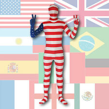 NEW ZENTAI SUIT - FULL BODY SPANDEX COSTUME - TEAM FLAG - WORLD CUP