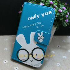 Cute Rabbit Wallet Credit Card slots Stander flip case cover skin for Sony Phone