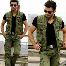 Hot Men's Military Multi Pockets Army Green Fishing Outdoor Vest Jacket