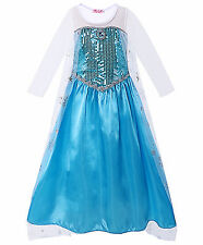 Elsa Princess Costume for Girl Kids Sequin Fancy Dress with Cape Halloween Party