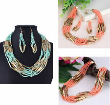 New Seed Beaded Torsade Multi-Layers Necklace Dangle Earrings Jewelry Set Gift