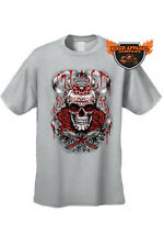 MEN'S BIKER T-SHIRT BLOODY RED SKULL AND STAR ROSES SKELETON FLAMES TEE S-5XL