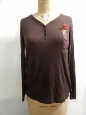 Charter Club Intimates Button Neck Long Sleeve Sleep Top S Brown NWT