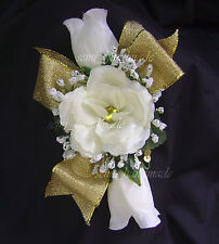 Ivory*Gold*Turquoise*Blue*Black*Ribbon*Rose*Wrist*Pin Corsage*Wedding*Prom*Party