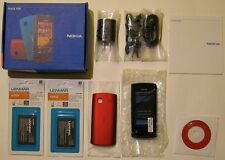 Unlocked New Nokia 500 cell phone GPS 2 batteries 2 covers red and black bundle