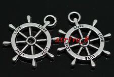 50/300pcs Tibetan Silver Two-Sided Rudder Alloy Jewelry Charms Pendant 24x19mm