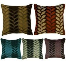 """Thick Chenille Leaf Design Filled Cushions or Cushion Covers 17x17"""" / 43x43cm"""