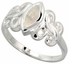 Sterling Silver Celtic Motherhood Symbol Knot Ring with Natural Moonstone, 3/8""