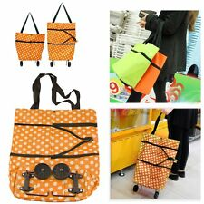 Foldable Folding Dot Print Shopping Trolley Roll Bag Cart On Wheels Lightweight