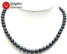"""SALE High luster 6-7mm Black Natural freshwater Pearl 17"""" necklace-nec5567"""
