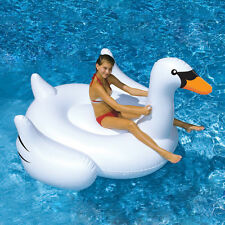 Fashion Summer Swimming Pool Kids Giant Rideable Swan Inflatable Float Toy Raft