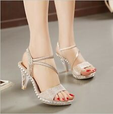 Fashion Rhinestone Crystal Mid High Heels Ankle Strap Pumps Womens Sandals Shoes