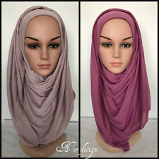 MAXI  **JERSEY**  Polyester Stretch Soft Scarf/Wrap Hijab Plain color 180x80cm