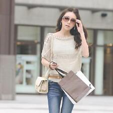 Women's Batwing Sleeve Casual Knit Knitwear Sweater Pullover Hollow Out Tops E23