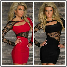 Women Sexy Club Lace Sheer Cocktail Party Stretch Mini Bodycon Dress