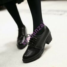Simple Casual Women Lace Up Low Heel Round Toe Oxfords Girls College Style Shoes