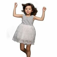 Baby Girls Flower Lace Party Dresses Summer Party Dress Ball Gown Kids Costume
