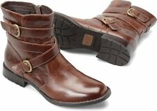Women's Born Short ZipOn Tanker Boot McMillan Brown Dark Tan Leather D76216