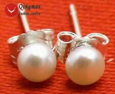 SALE Tiny 5-6mm Natural White Freshwater flat Round Pearl stud Earring-ear281