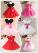 Baby Girls Bow Flower Formal Party Princess Dress Tulle Wedding Bridesmaid Xmas