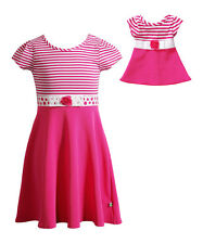 """Dollie & Me Girl 4-8 and 18"""" Doll Matching Pink Dress Clothes fit American Girls"""