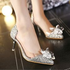 New Pointed Toe Sequins Crystal Pumps Womens Kitten Heels Wedding Bridal Shoes