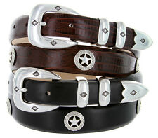 "Presidential Silver Star - Mens Italian Calfskin Designer Dress Belt 1-1/8"" Wide"