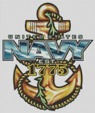 Cross stitch chart, Pattern, . US. Navy, Military, Anchor, Armed Forces, USMC