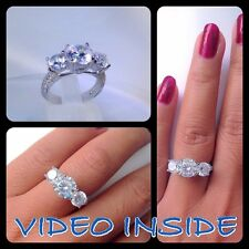Round Cut 3 Stones Engagement Diamond Ring Platinum Real 925 Sterling Silver