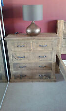 NEW SOLID WOOD RUSTIC CHUNKY PLANK 2OVER3 CHEST OF DRAWERS 2/2 & 2/4 AVAILABLE