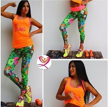 Fashion Cata Fitness Hot Set Women Workout Leggings Blouse Gym Choose Size