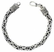 Sterling Silver Square BYZANTINE Chain Necklace 7mm Heavy Antique Italy 20-30""