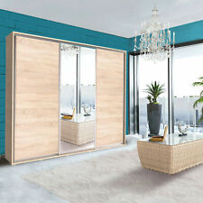 EXTRA LARGE WARDROBE ELLE 255cm WITH SLIDING DOORS & MIRROR, 3 COLOURS