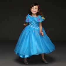 Girls Butterfly FROZEN Anna Elsa Cinderella Dress Princess Queen Cosplay Costume