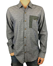 VOLCOM. Mens Button Up Collared Long Sleeve T-Shirt. Blue. Size: S, M, L, XXL.