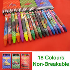 18 JUMBO WAX CRAYONS ASSORTED COLOURS NON BREAKABLE KIDS PARTY GIFT BAG FILLER