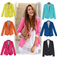 Womens Fashion Long Sleeve One Button Candy Color Blazer Suit Coat Casual Jacket