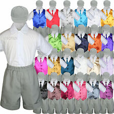 Gray Boy Toddler Formal Vest Shorts Suit Satin Vest Necktie Hat 5PC Set sz S-4T