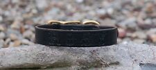 "BLACK LEATHER 1"" INCH WIDE COLLAR HANDMADE FREE CUSTOM PERSONAL NAME STAMPED"